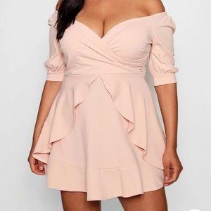 BOO HOO Peach off the shoulder dress